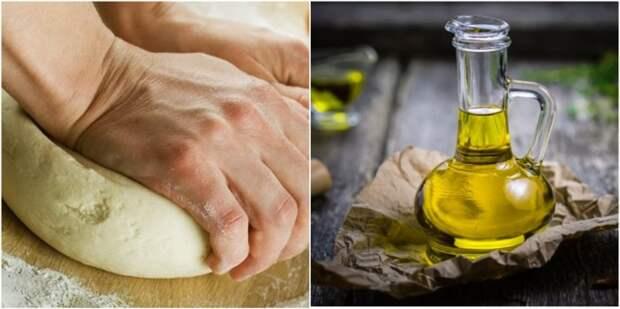 Избавить тесто от липкости поможет подсолнечное масло