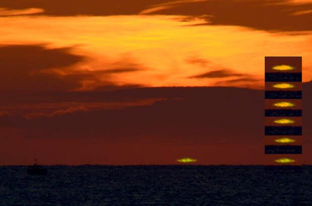 Зелёный луч. Явление представляет собой вспышку ярко-зелёного света в момент заката или восхода солнца. Его продолжительность всего несколько секунд. (jean-daniel pauget)