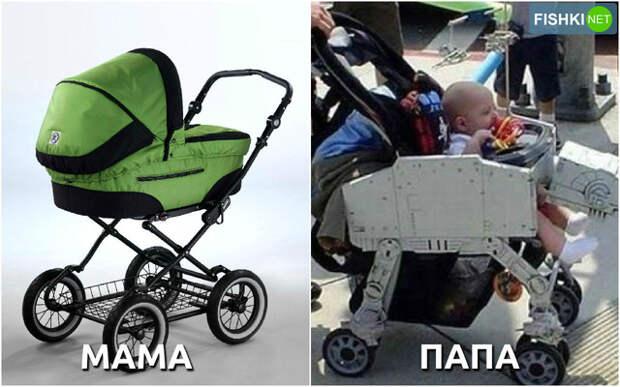 Родители выбирают ребёнку коляску
