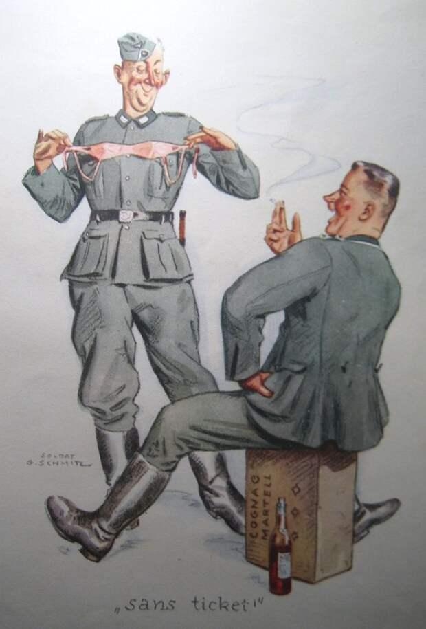 Немцы и француженки на старых открытках