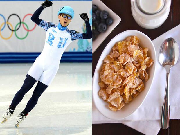 Шестикратный олимпийский чемпион по шорт-треку Виктор Ан терпеть не может, когда тренировки начинаются слишком рано, поэтому его завтрак происходит позже, чем у большинства, но замысловатостью не отличается — хлопья с молоком, тосты с мясом или сыром и чай. Этнический кореец Ан порой не отказывает себе в блюдах родной кухни, а из русских традиционных блюд особенно ценит борщ и блины.