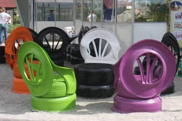 Мебель для дачи своими руками из старых шин. \ Фото: youtube.com.