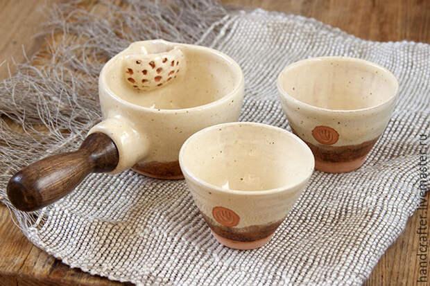 Делаем из глины чайный набор: ковш и две пиалы