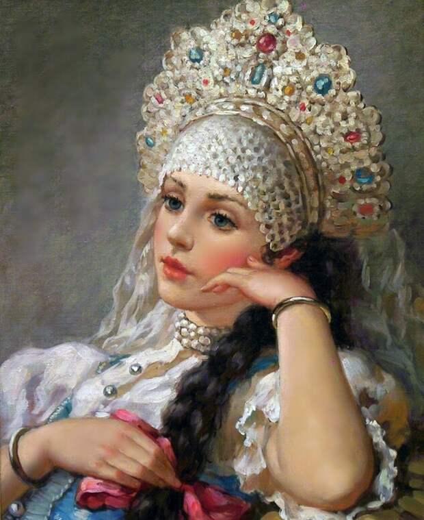 """Предпросмотр - Схема вышивки """"серия """"русская красавица"""""""" - С…"""
