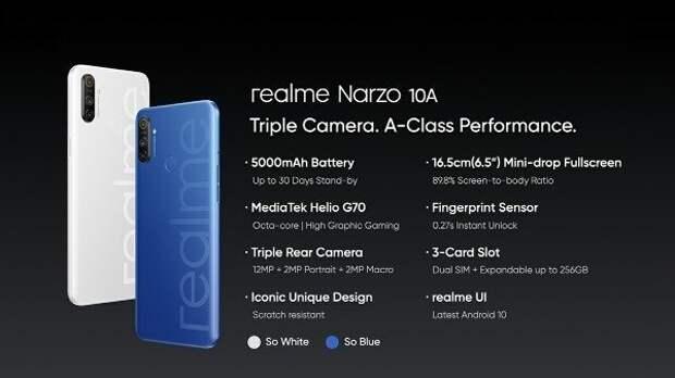 Такими могут быть смартфоны за 10000 рублей. Представлены Realme Narzo 10 и Narzo 10A