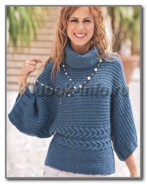 Вязание спицами. Пуловер кимоно с воротником гольф. Размеры: 38