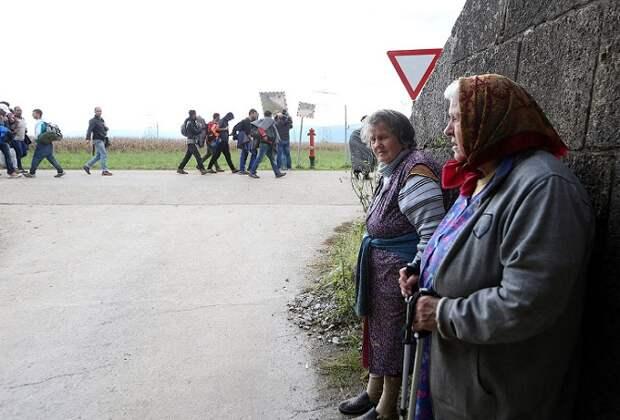 Мигранты стройною толпой…