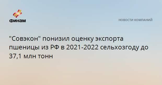 """""""Совэкон"""" понизил оценку экспорта пшеницы из РФ в 2021-2022 сельхозгоду до 37,1 млн тонн"""