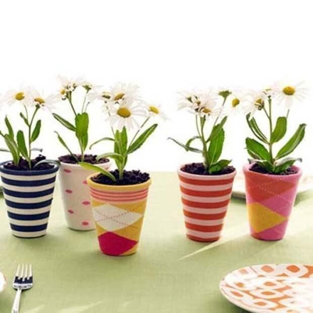 Чехлы для цветочных горшков носки, сделай сам