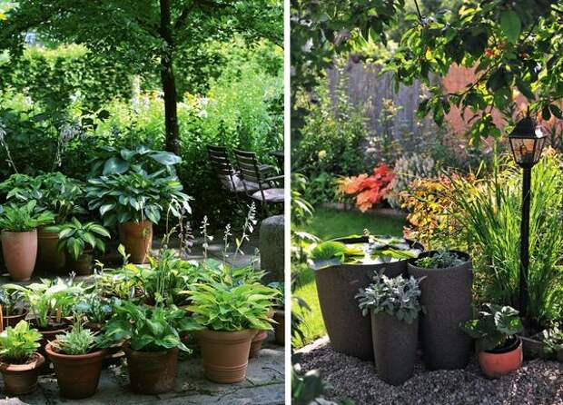Слева: мобильный контейнерный сад. Справа: водоем в мини-формате