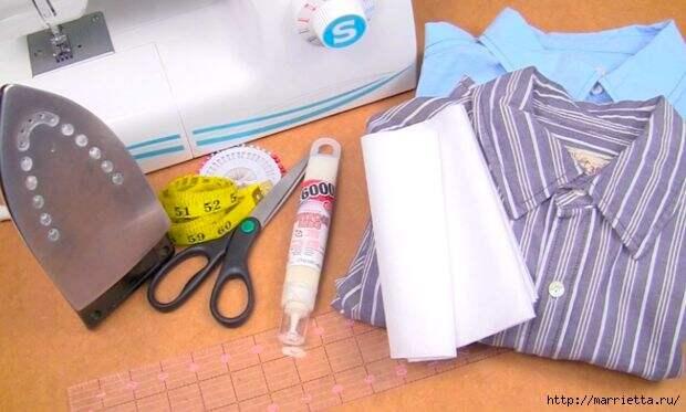 Юбка с карманами из двух мужских рубашек. Видео мастер-класс (3) (620x373, 126Kb)