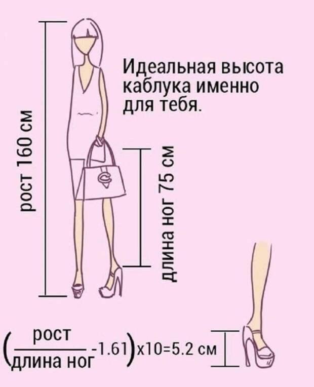 Как определить идеальную высоту каблука для своего роста 0