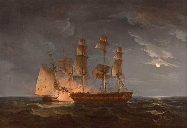 Другой эпизод, в котором также схлестнулись шхуна и бриг. 1814 год. Художник: Thomas Whitcombe