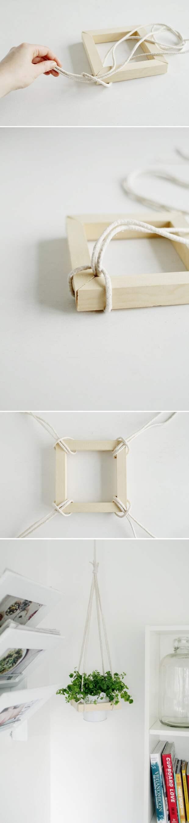Подвесное кашпо из рейки (Diy)