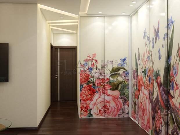 Дизайн-проект двухкомнатной квартиры, шкафы-купе, принт на дверце шкаф