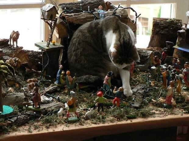 23. Тиранозавр в рождественском вертепе животные, новый год, праздник к нам приходит, разрушительная сила, рождество, собаки и кошки, юмор