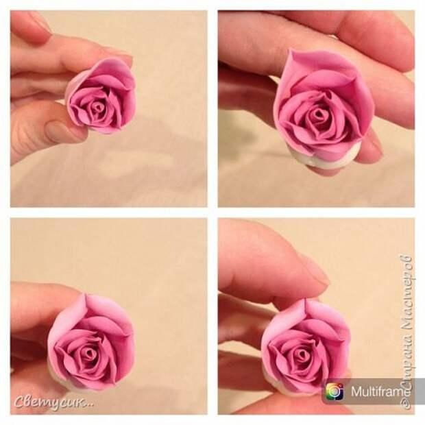 Мастер-класс Флористика искусственная Лепка МК розы из ХФ как и обещала Фарфор холодный фото 12