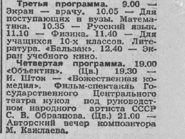 Что смотрели на советском телевидении в обычный воскресный день 1976 года