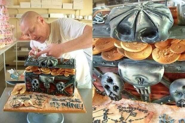Настоящий пиратский клад еда, торт