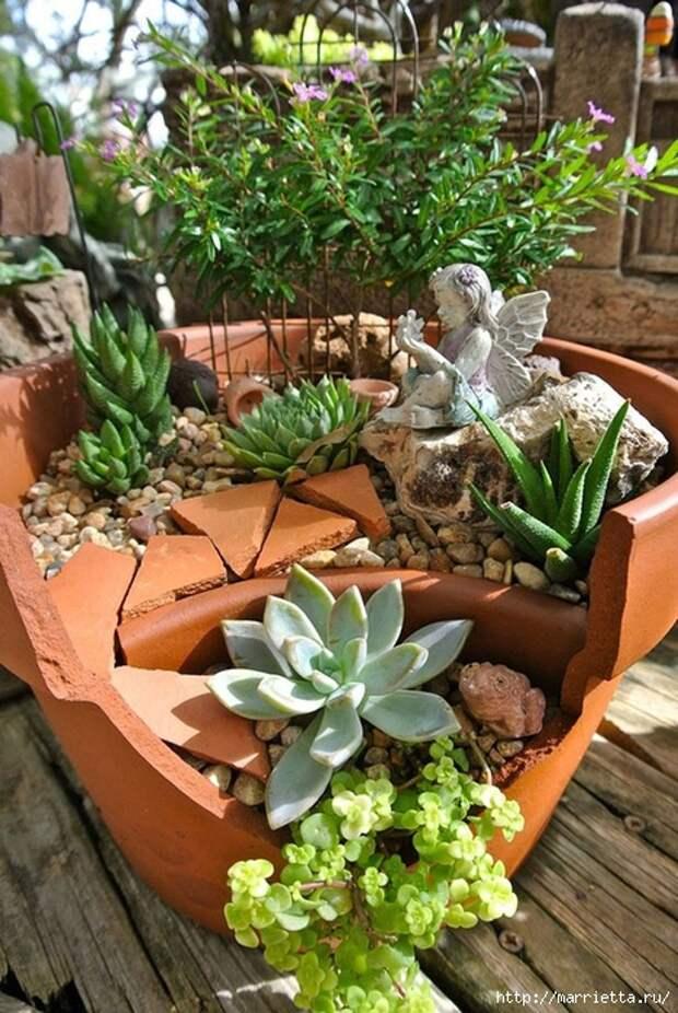 Миниатюрный сад из цветочного горшка. Идеи (13) (468x700, 337Kb)