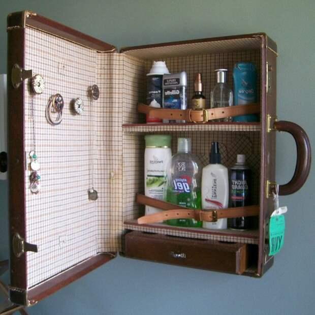 Подвесной шкаф из старого чемодана своими руками