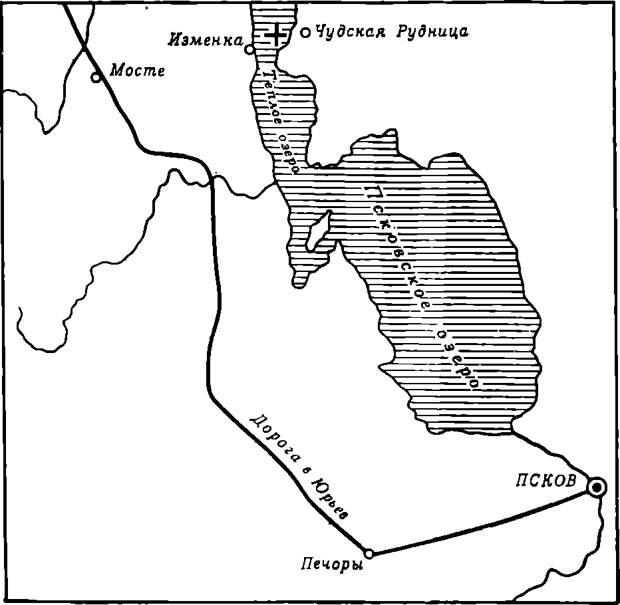 Схема места Ледового побоища. Крестом отмечено место битвы