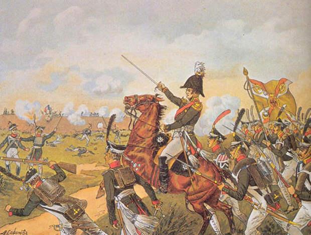 Контратака генерала Ермолова на батарею Раевского. А. Сафонов, начало XX века.jpg