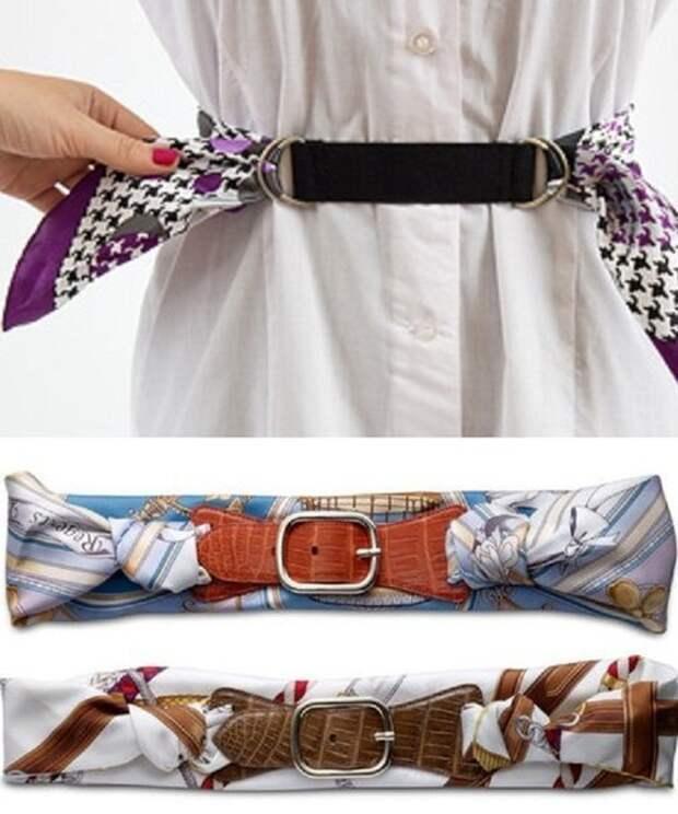 Идея пояса для платья, из платка