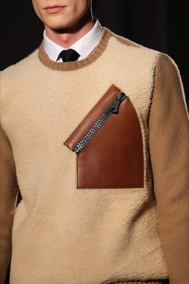 Карманы из кожи на свитерах