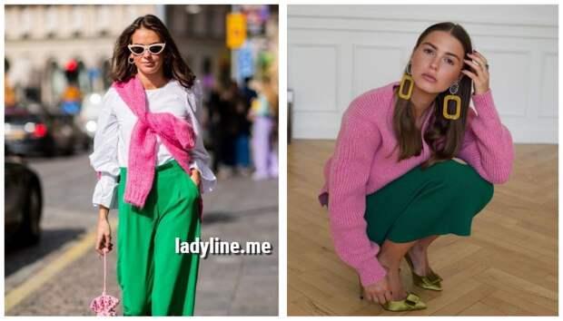 Самое яркое и модное сочетание весны – зеленый с розовым