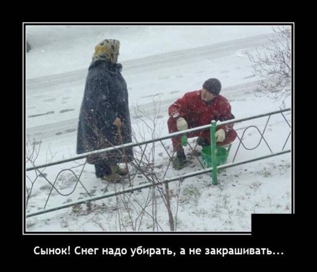 Демотиватор про снег