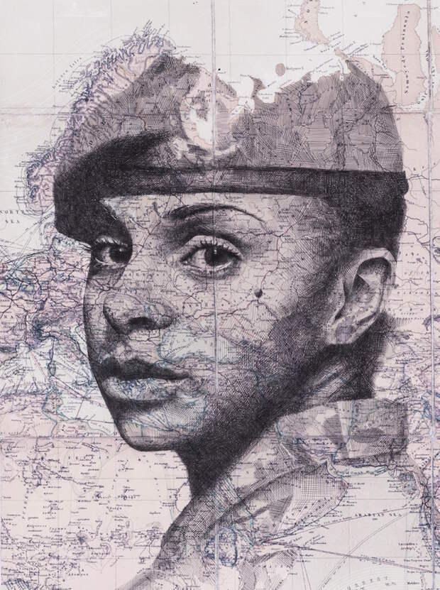 Портреты, гармонично вписанные в карты городов и стран