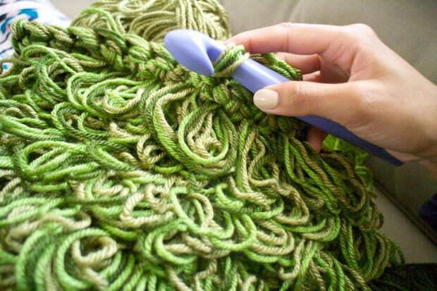 картинка вяжем коврик в виде травы своими руками