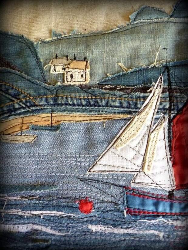 Аппликация-пейзаж (из джинсов)
