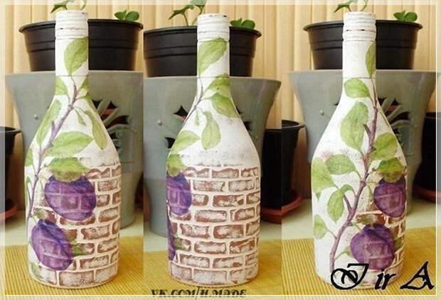 Имитация кирпичной кладки на бутылках, мастер-класс