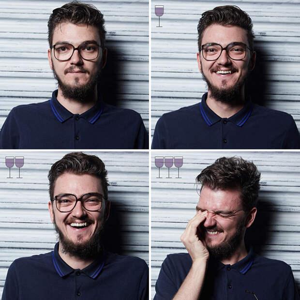Как лица людей меняются после одного-двух-трёх бокалов вина