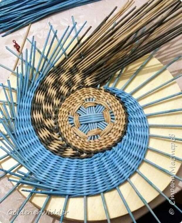 Мастер-класс Плетение Панно 40 см Спиральное плетение Бумага газетная Трубочки бумажные фото 14