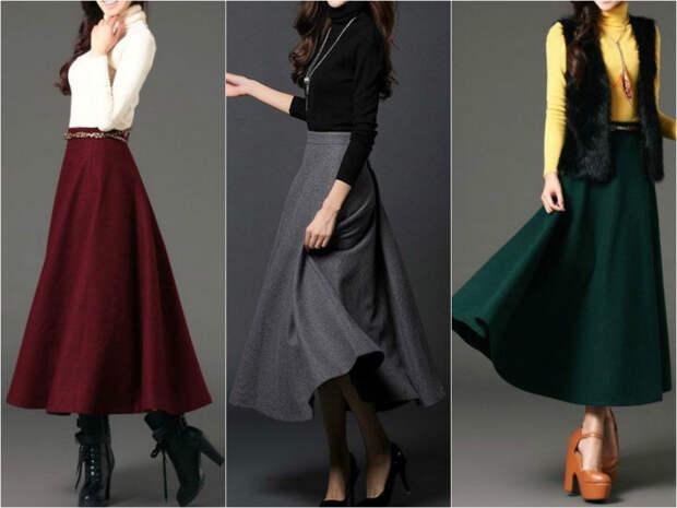 Модные цвета длинных юбок зимой