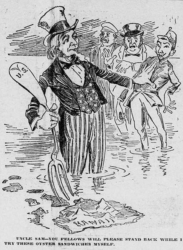 Аннексия Гавайев. Дядя Сэм олицетворяет США. Политическая карикатура, 1897 год.jpg