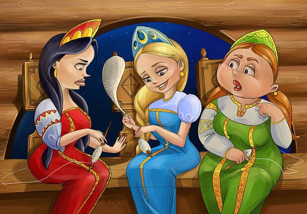 Три девицы вечерком Собрались к подруге в дом...