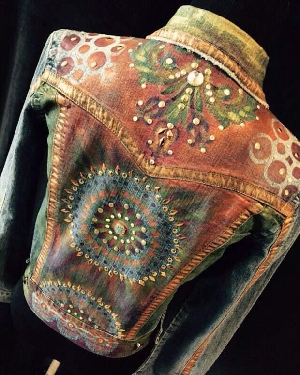 Custom order hand painted denim jacket. A bit of BoHo.