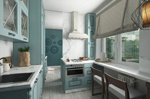 Трогательный стиль прованс на маленькой кухне.