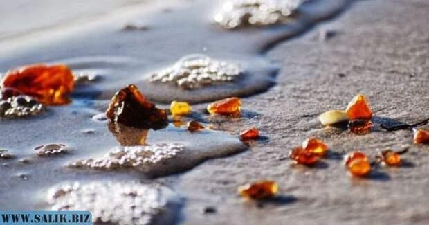Янтарь добывается в карьерах или выносится на берег волнами.