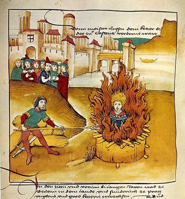 Сожжение Яна Гуса. Рисунок из хроники Шпицера, 1485 год.jpg