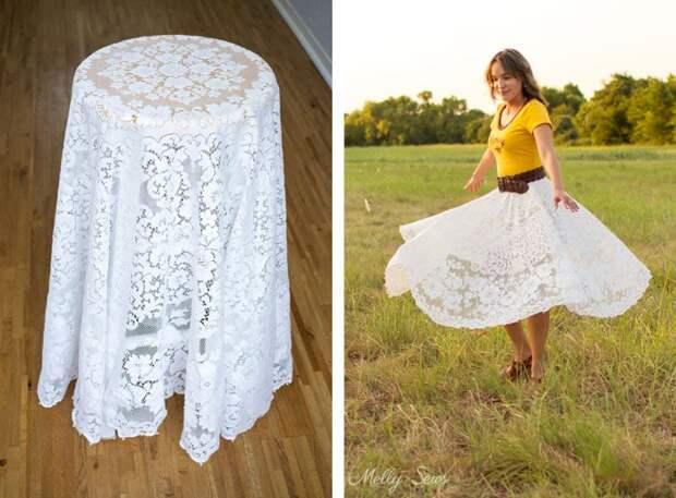 Легкая летняя юбка из кружевной скатерти за несколько минут
