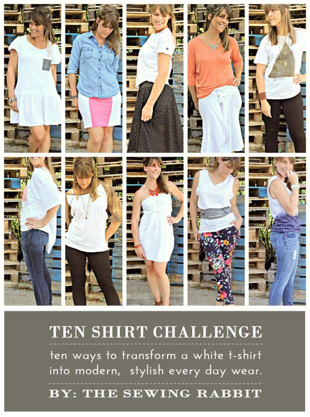 10 способов превратить белый чай - DIY #sewing учебники - Десять Рубашка вызов || www.sewingrabbit.com