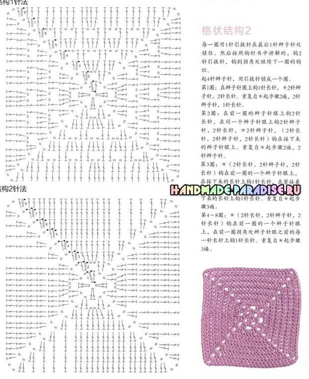 Вязание крючком бабушкиными квадратами. Схемы