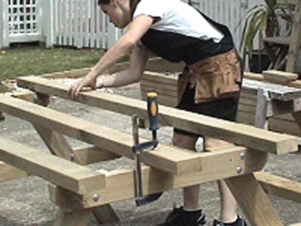 Стол со скамьями для пикника своими руками