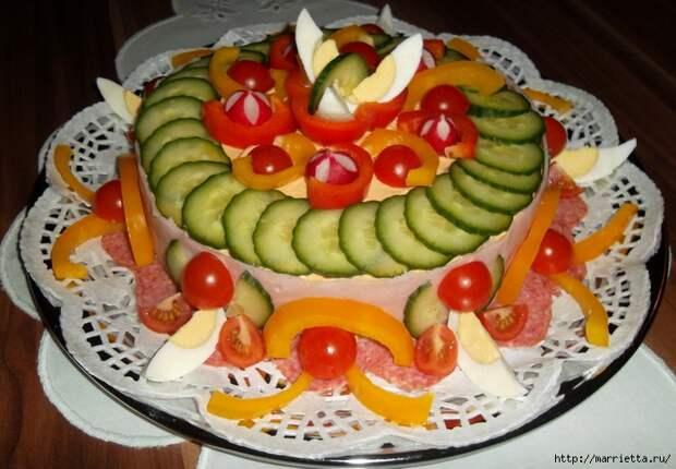 Соленый закусочный торт. Идеи оформления к ПАСХЕ (48) (700x485, 278Kb)