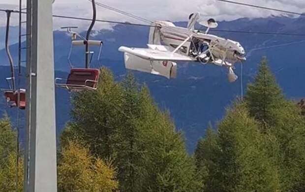 В Альпах самолёт запутался в проводах горнолыжного подъёмника